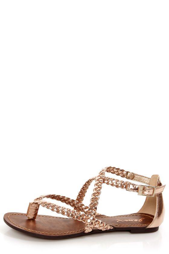 c53768a5cbc5 LuLu s Vegan Shoes  GoMax Berdine 53 Rose Gold Metallic Braided Gladiator  Sandals