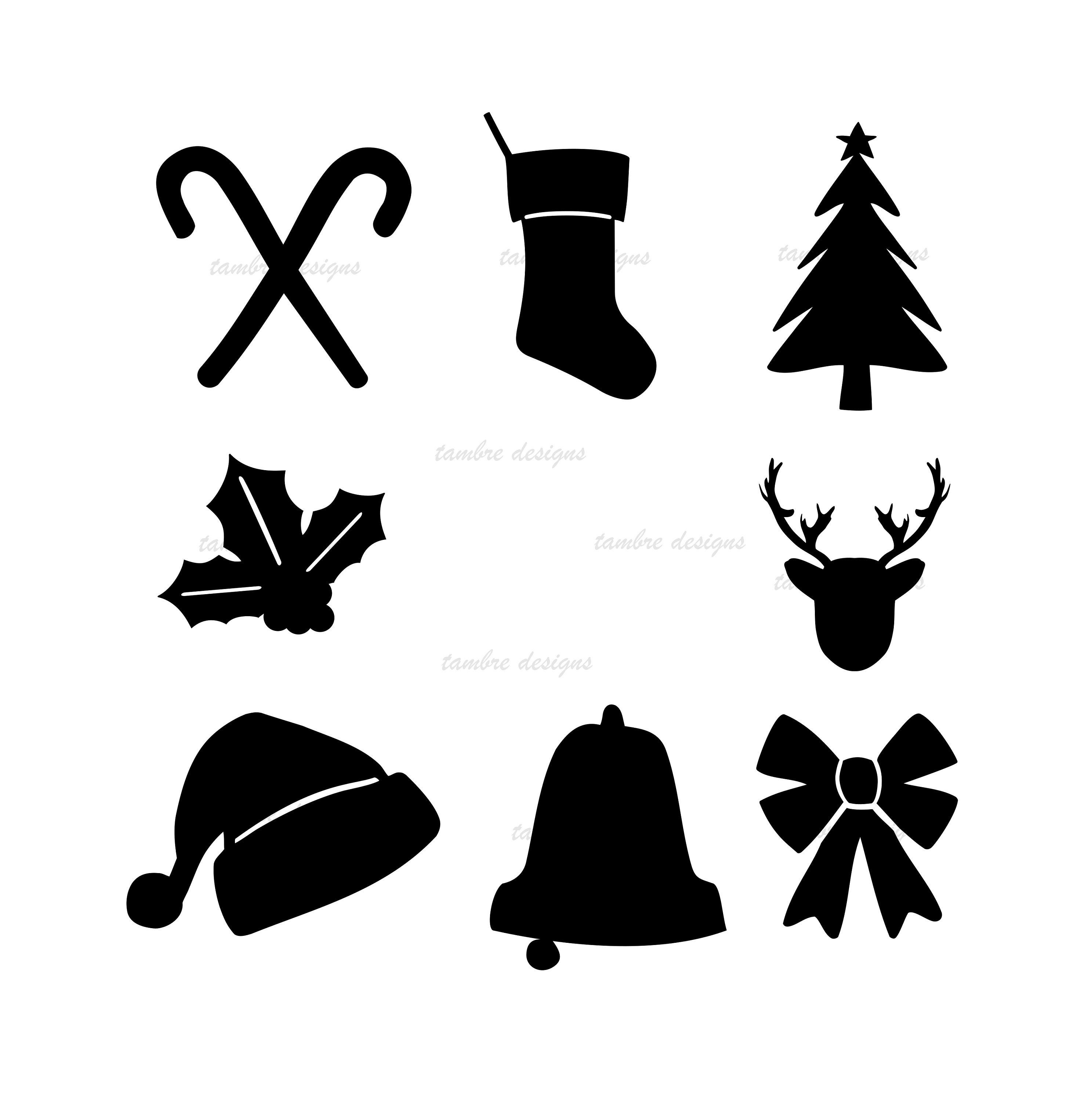 Christmas Silhouettes Icons SVG Tshirt Cards Gifts