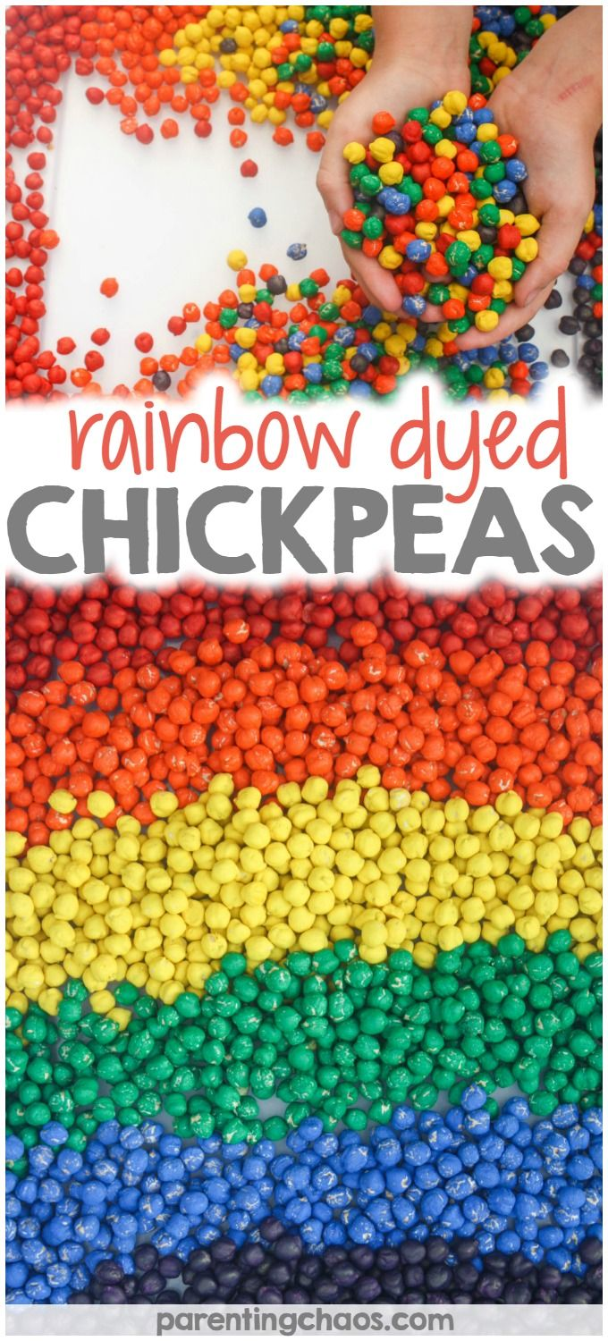 Rainbow Dyed Chickpeas are a quick and easy sensory bin filler that kids will…