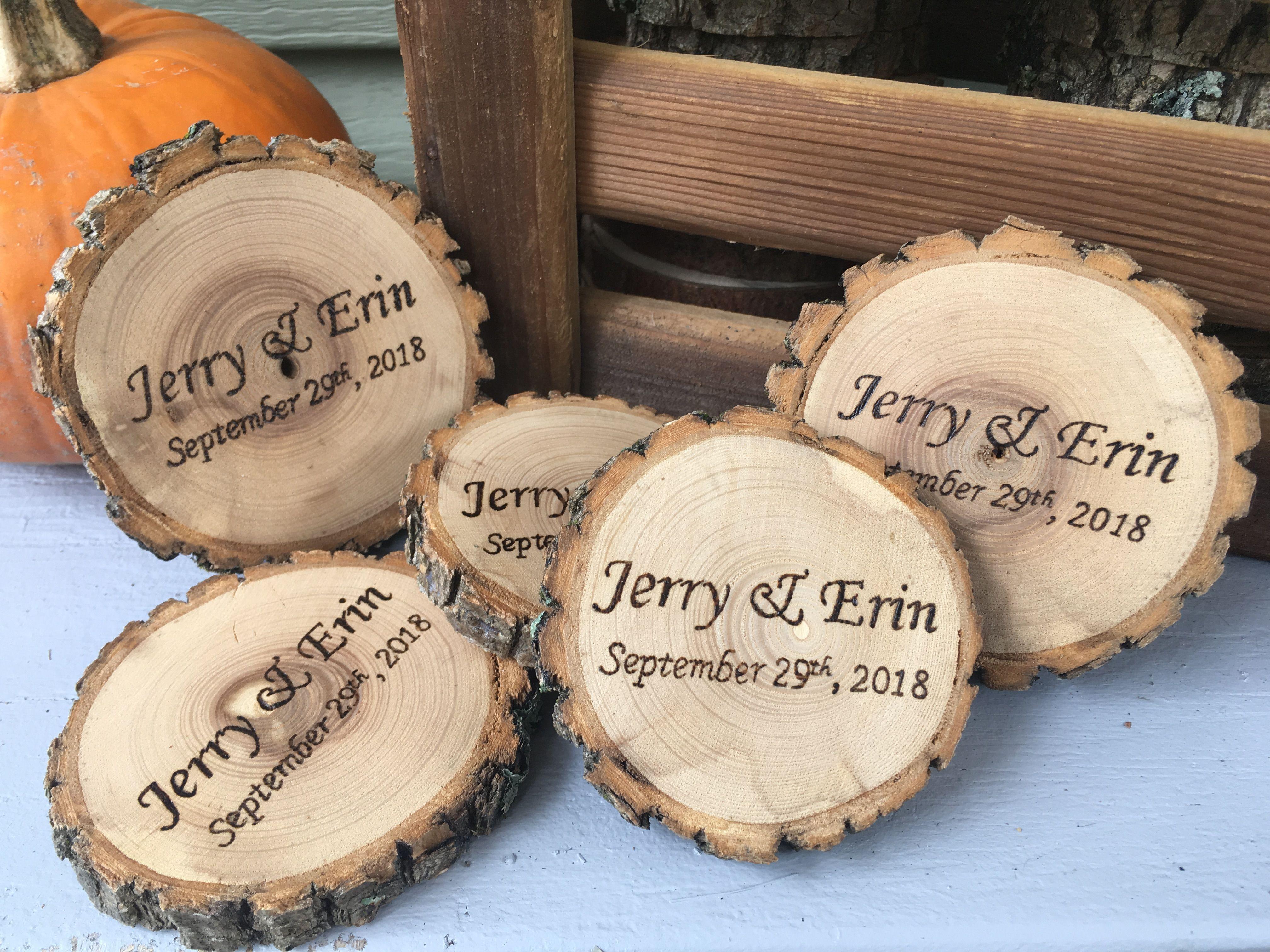 Wood Slice Coaster Wedding Favours Wood Burned Handmade Canada Differentweddingfavours Homemade Wedding Favors Wedding Favors Inexpensive Wedding Favors