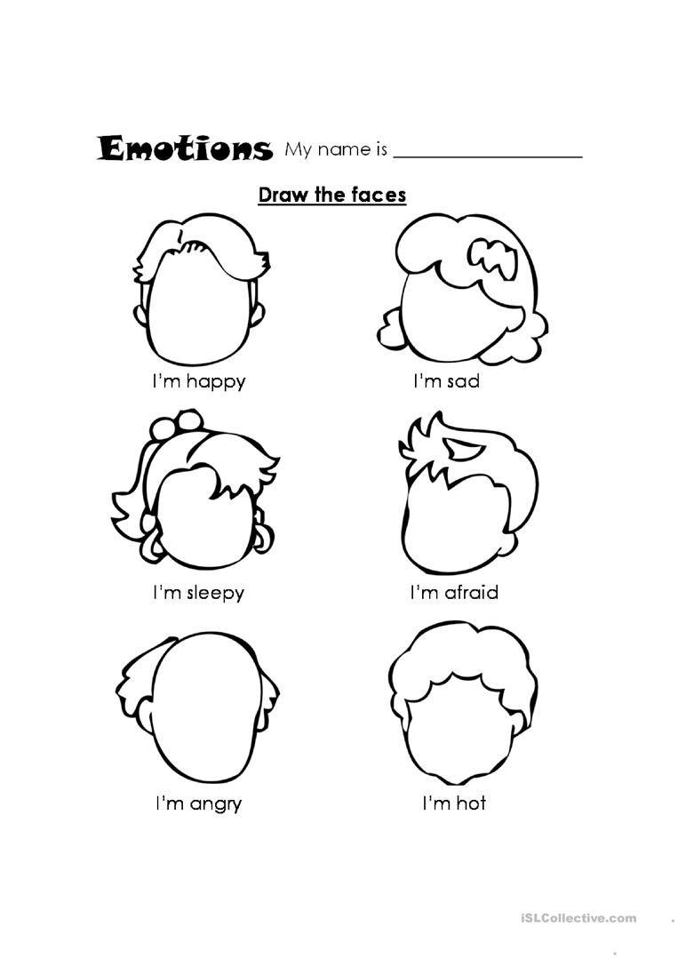 Feelings Kindergarten Coloring Pages Teach Feelings Preschool Worksheets [ 1079 x 763 Pixel ]
