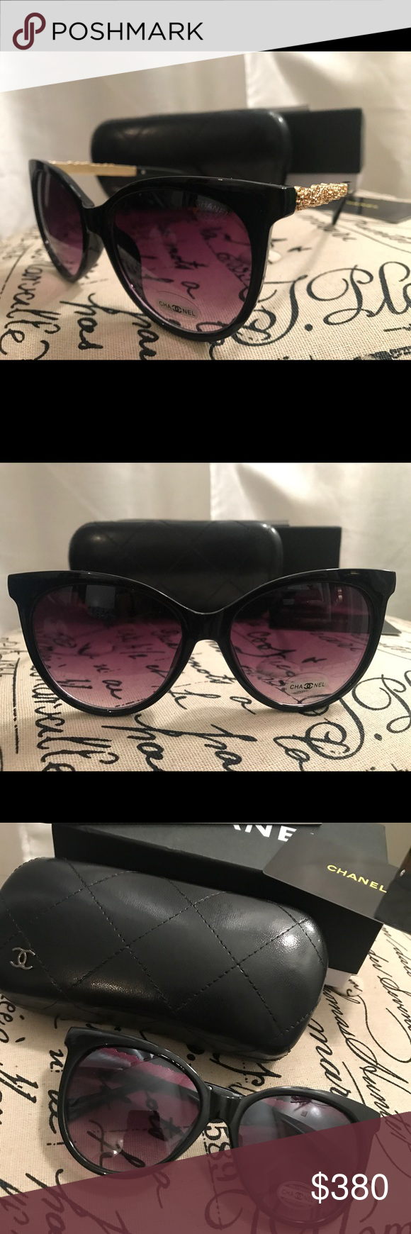 8958960687bb NWT Chanel Sunglasses 5360 NWT Chanel Sunglasses 5360 New in box! Comes  with case, care manual and authenticity card! Beautiful black sunglasses  with gold ...