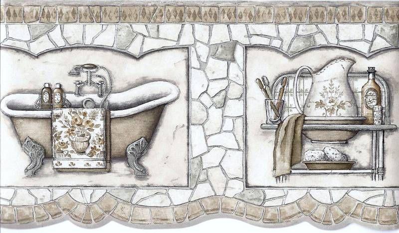 Antique Bath Tub Sink Neutral Mosaic Wallpaper Border Mf008110b Mosaic Wallpaper Wallpaper Border Wall Wallpaper Bathroom wallpaper borders home depot