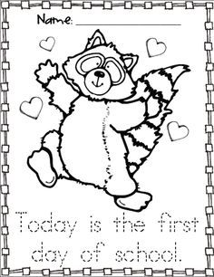 Kissing Hand activities: FREE Chester the raccoon coloring page ...