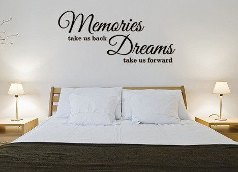 muurtekst, muursticker, memories, dreams, slaapkamer, sticker ...