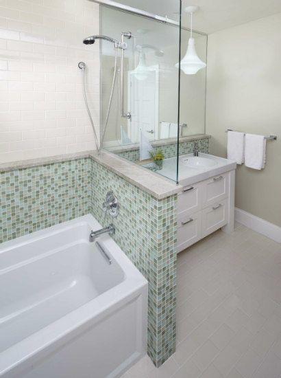 muurtje met glasplaat - mozaiek.com   badkamer   bathroom   salle de ...