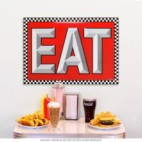 EAT Checkerboard Diner Style Metal Sign_D | It\'s ALL about Coke ...