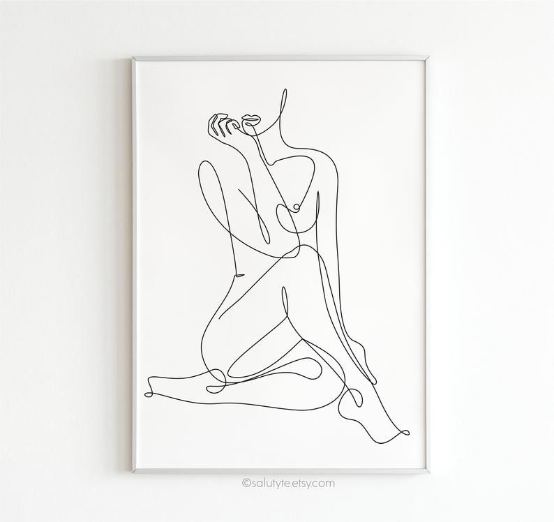 Erotic e Line Art Nude Line Drawing y Drawing Naked Prints Female Body Printable Wall Art Home Decor Bedroom or Living Room Art