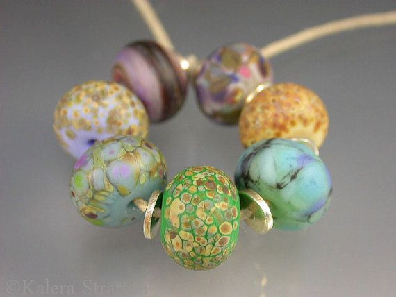 Purple blue gray yellow green mixed etched lampwork by Beadwife, $28.00