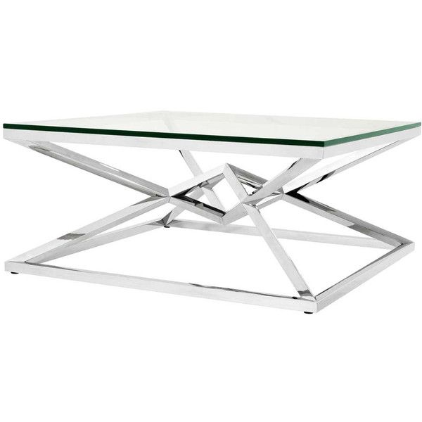 Eichholtz Connor Coffee Table - Silver ($2,540) ❤ liked on Polyvore featuring home, furniture, tables, accent tables, silver, geometric coffee table and metallic furniture