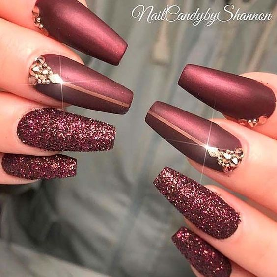 The Newest Acrylic Nail Designs Ideas Are So Perfect For Fall Hope They Can Inspire You And Read The Article Burgundy Nail Designs Burgundy Nails Nail Designs