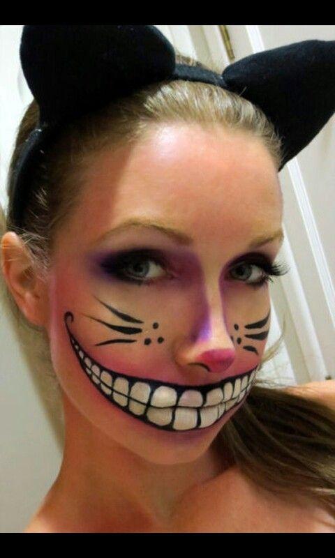 Alice In Wonderland Chester Cat Face Creepy Makeup Halloween Make Cheshire Cat Makeup