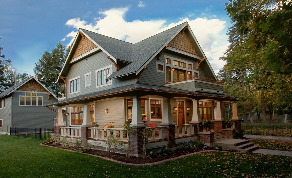 Craftsman Porch With Glass Panel Door, Pathway, Transom