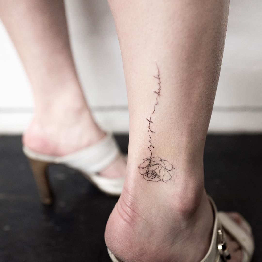rose & lettering  #rosetattoo #flowertattoo #lettering #linetattoo #ankletattoo #tattoo #tattoos #ink #hongdam #tattooisthongdam #장미타투 #꽃타투 #레터링 #라인타투 #타투 #홍담 #타투이스트홍담