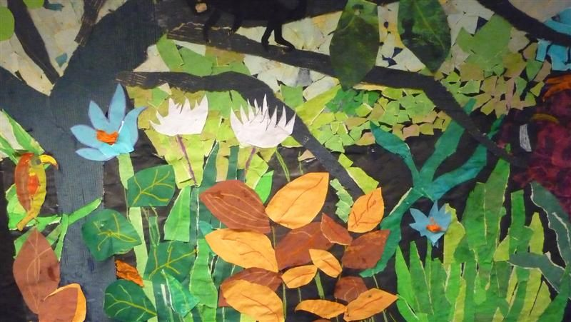 Henri Rousseau For Kids Collage Can Use To Describe Fore Middle And Background In Space Matisse Art Project Elementary Art Projects Jungle Art