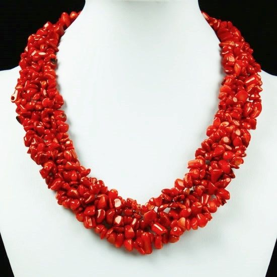 Red Coral Nugget Chip Woven Bib Statement Chunky Necklace