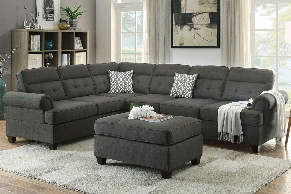 Gyumri Sectional Sofa Ash Black Fabric in 2019   Living Room ...