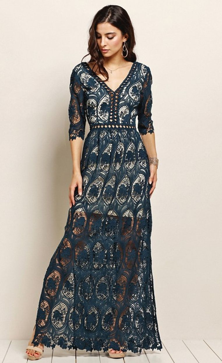 Lace maxi dress wedding guest outfit ideas fall wedding ideas