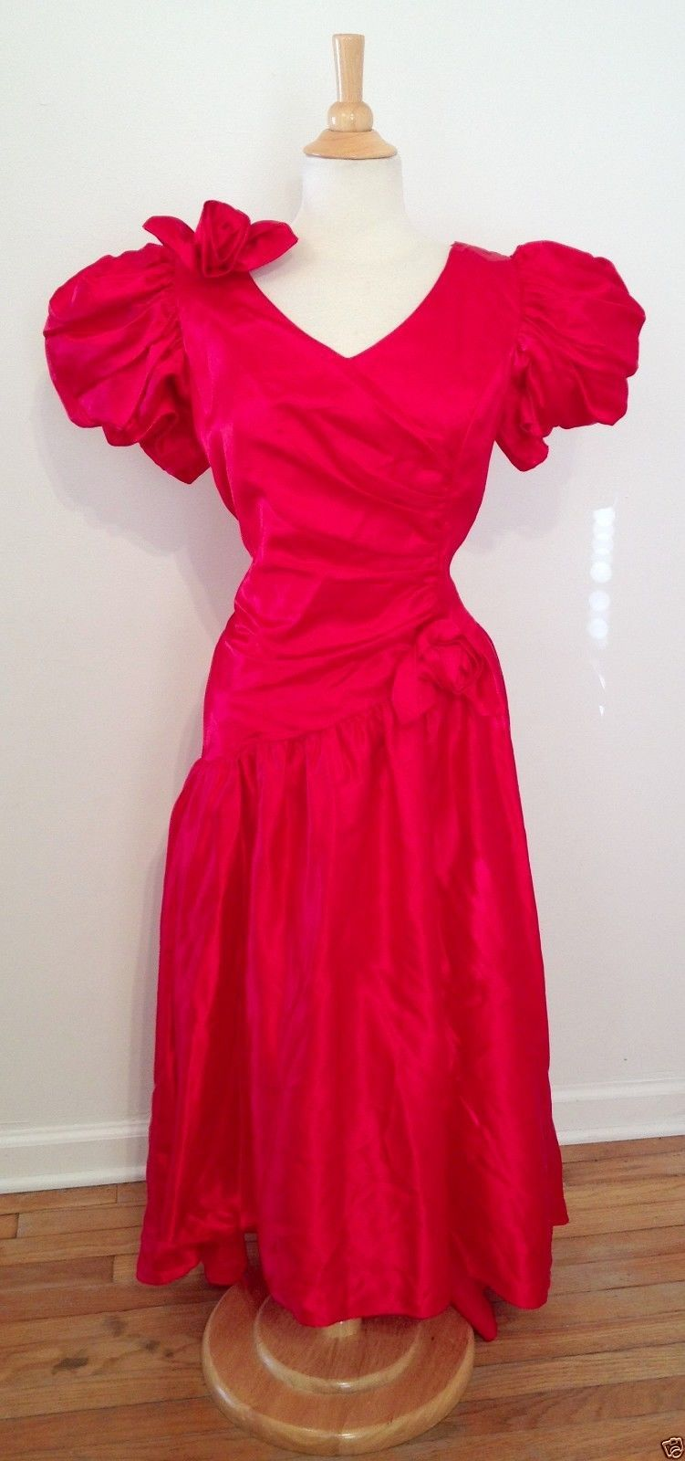 red satin dresses with sleeves