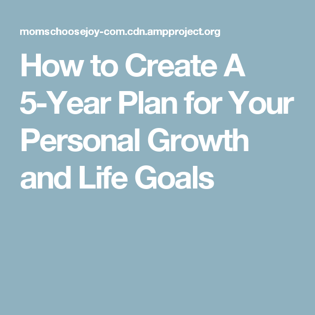 personal five year plan
