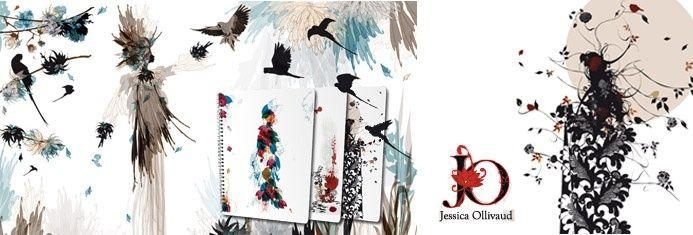 Jessica Ollivaud es una joven grafista con gran personalidad. Su estillo lleno de delicadeza te transporta a un mundo lleno de fantasía y fauna. En Mademoisselle No, los majestuosos vestidos de las modelos se componen de pequeños animales del bosque que revolotean entre sí. Su estilo colorista y animalista, realizado en acuarela, te llegan como una sonrisa