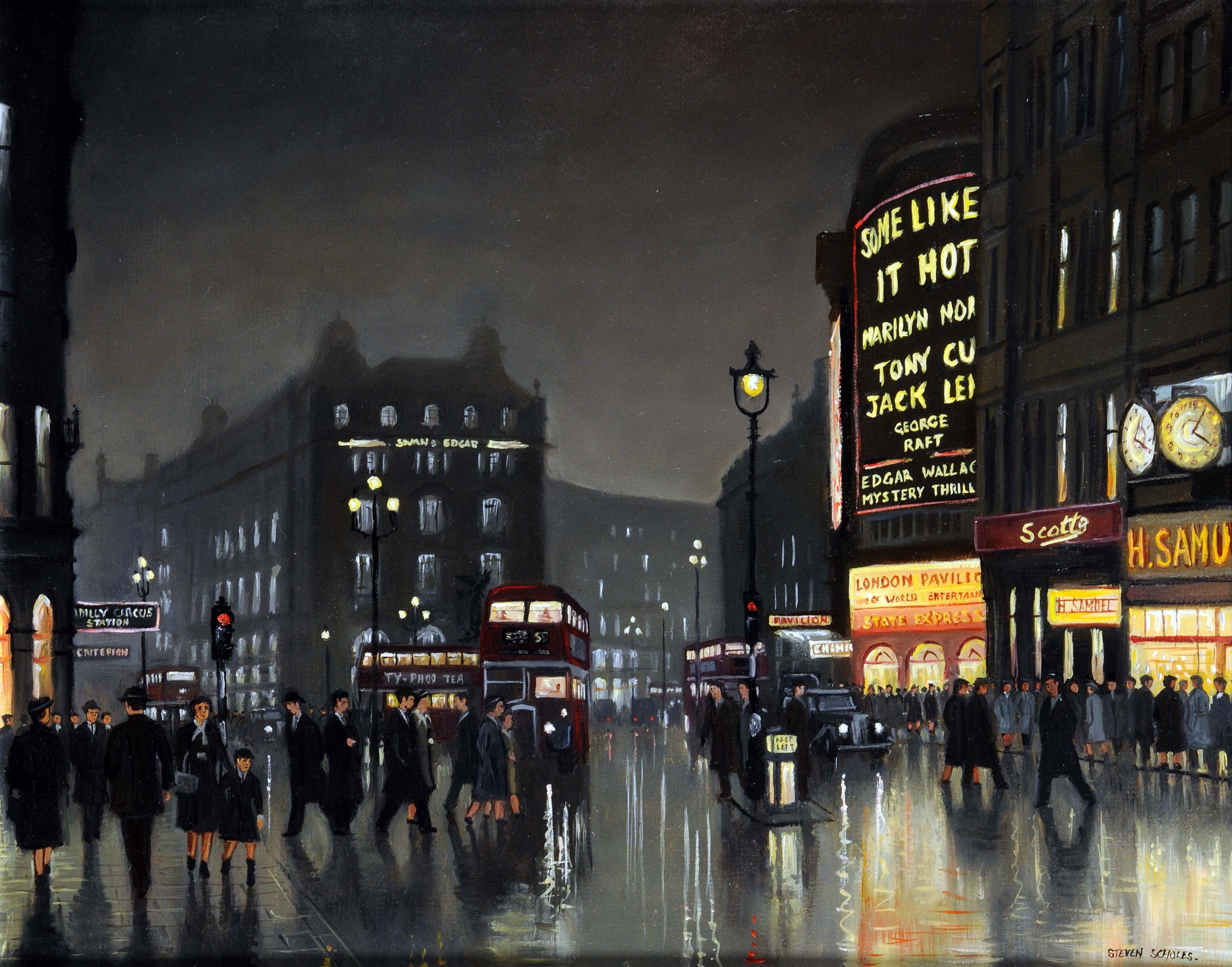 Art Auction - Lot 532 A busy London scene at night, titled 'Piccadilly Circus 1959', by STEVEN SCHOLES. Scholes is a contemporary Northern School artist. Up for auction 30th January.