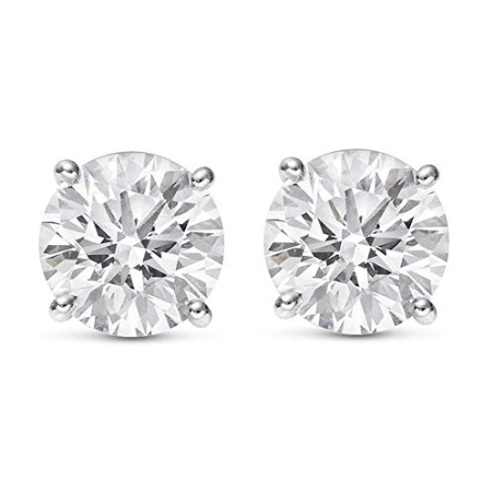 1 2 2 Carat Total Weight Round Diamond Stud Earrings 4 Prong Push Back I J Color Diamond Solitaire Earrings Pyramid Stud Earrings Diamond Earrings Studs Round