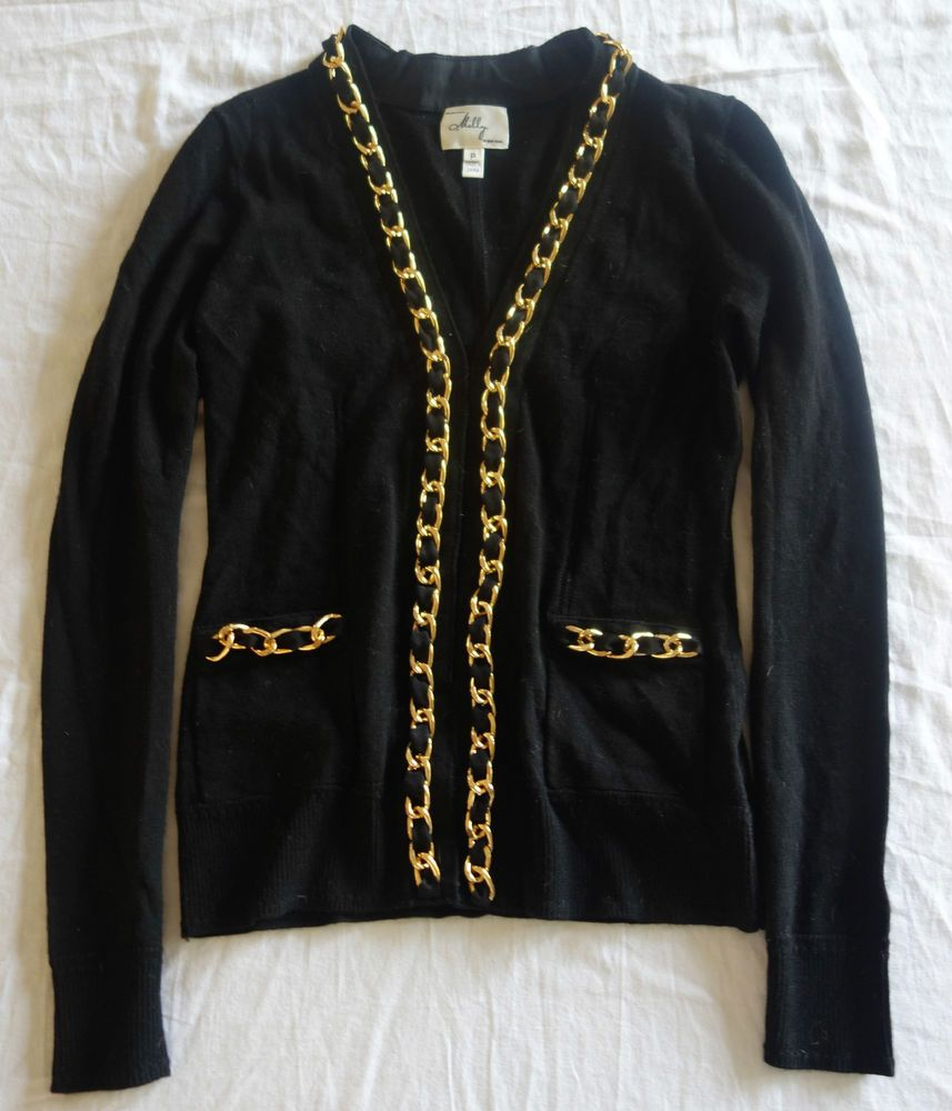 milly black cardigan sweater w/ gold chain trim (oh so cute!) p ...