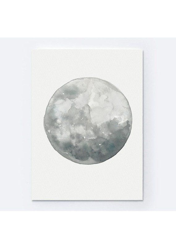 Full Moon Watercolor Painting Abstract Minimalist Moon Drawing Home