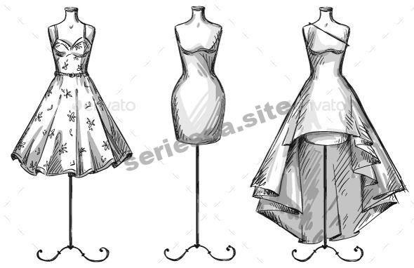 Mannequins With Dresses Kleid Design Skizzen Mode Design Vorlage Modeskizze Zeichnen