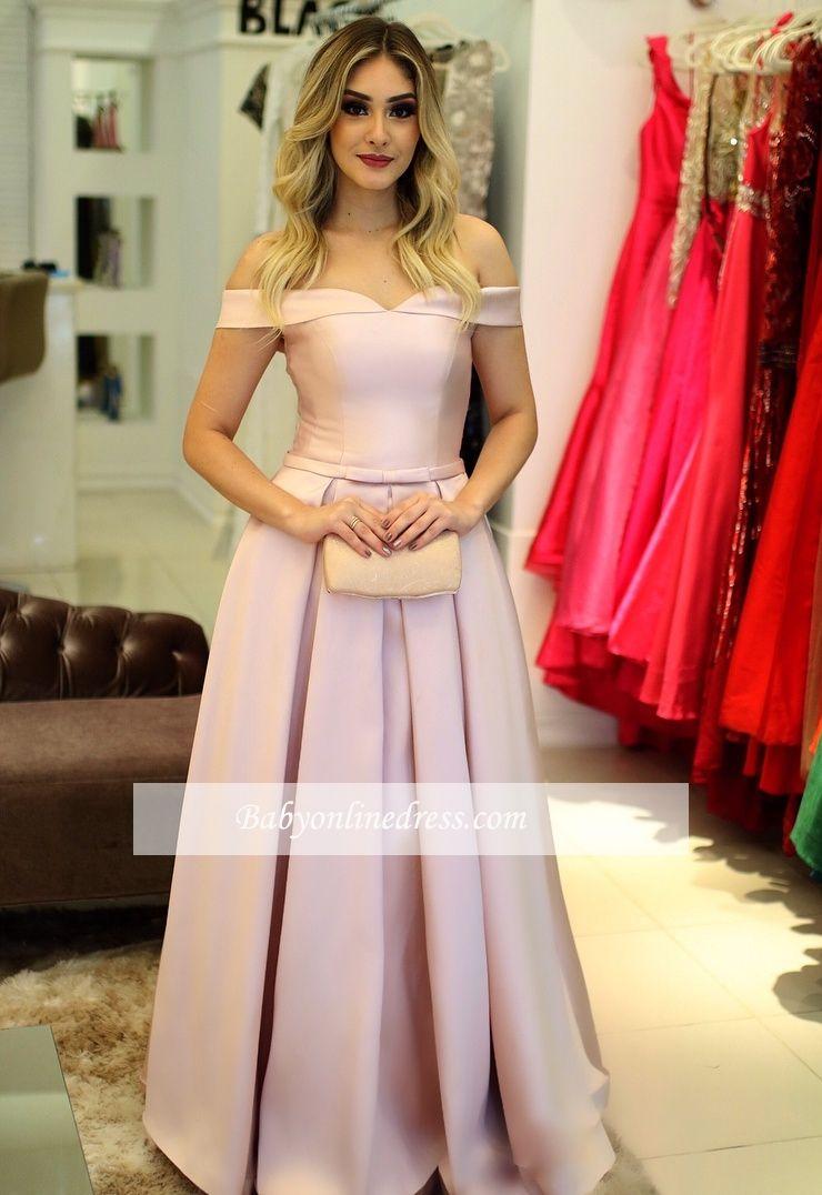 Fashion Rosa Abendkleider Lang Günstig A Line Ballkleider