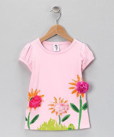 Light Pink Flower Garden Tee - Toddler & Girls $12.99