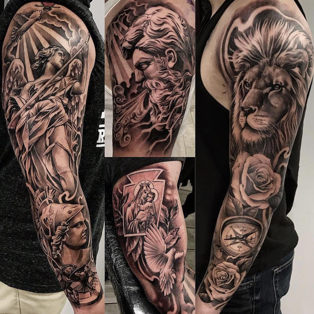 Amazing Artist Jeffry Mendoza Mendozajeffry Awesome Tattoo Sleeves Collection Jeffrymendoza Sleevetattoo Roman Rome I Sleeve Tattoos Tattoos Lion Sleeve