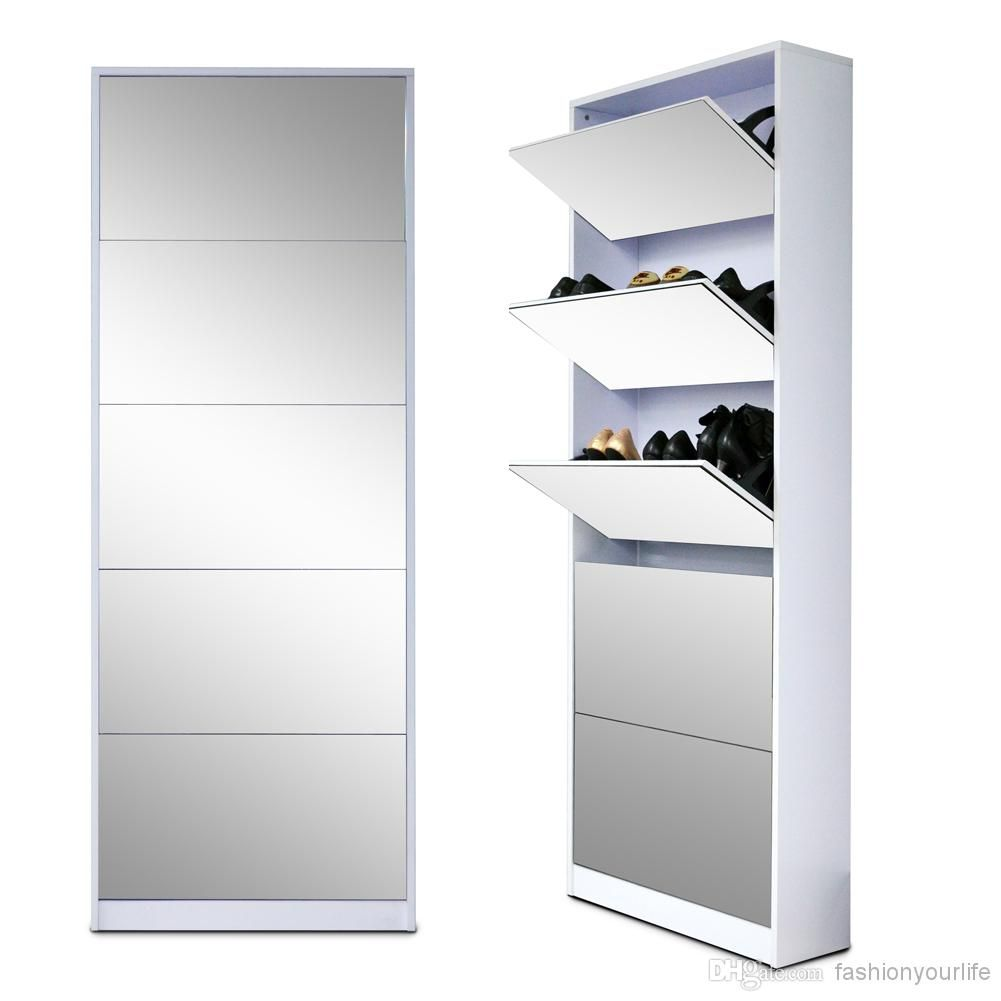 Full Length Wooden Shoe Storage Cabinet With 5 Drawers Full Mirror