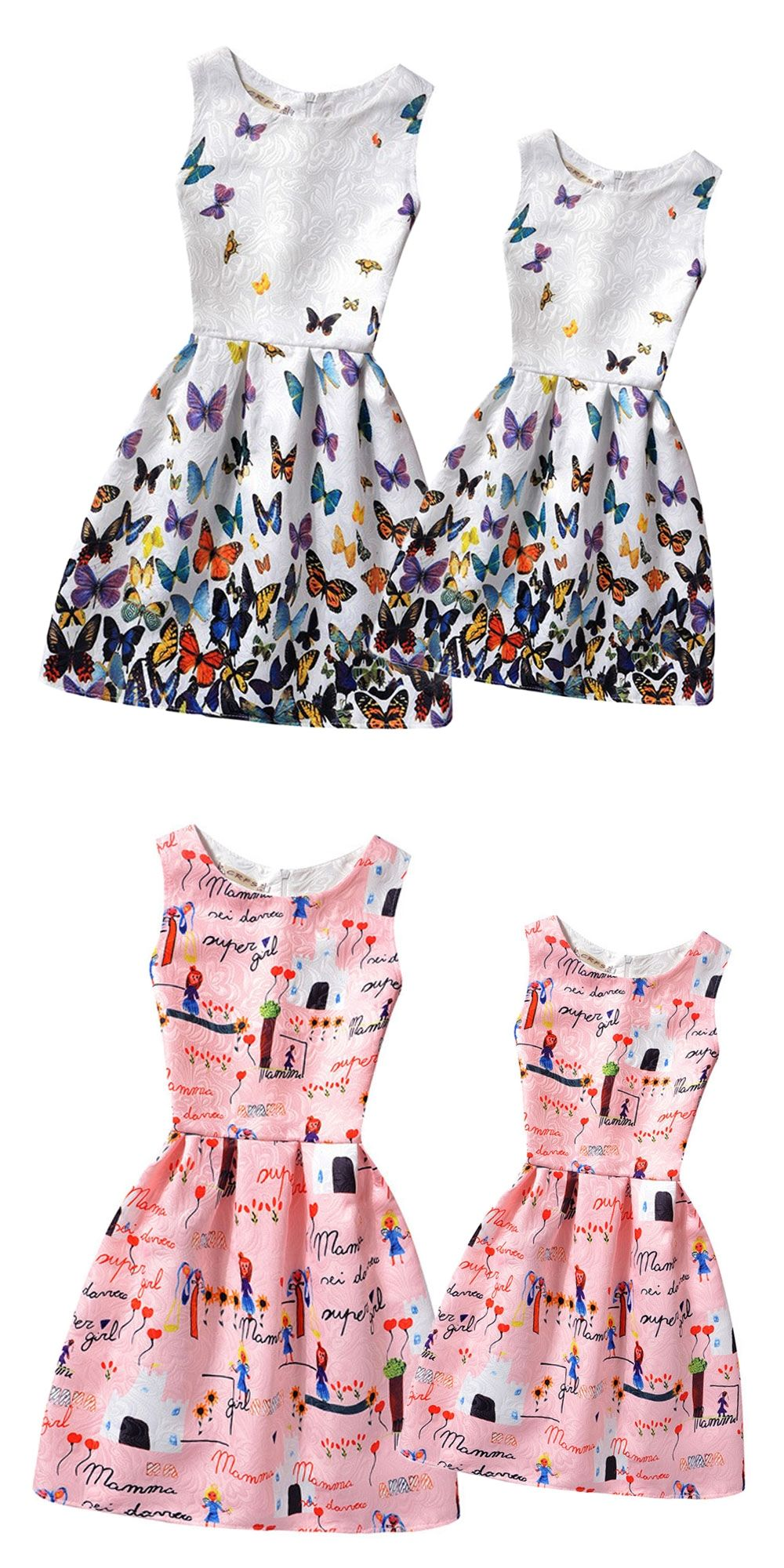 1ea8c5f9287a 2016 Summer Mother and Daughter Dresses Clothes Family Matching Clothes  Family Look Clothing Teenage Girls Printed