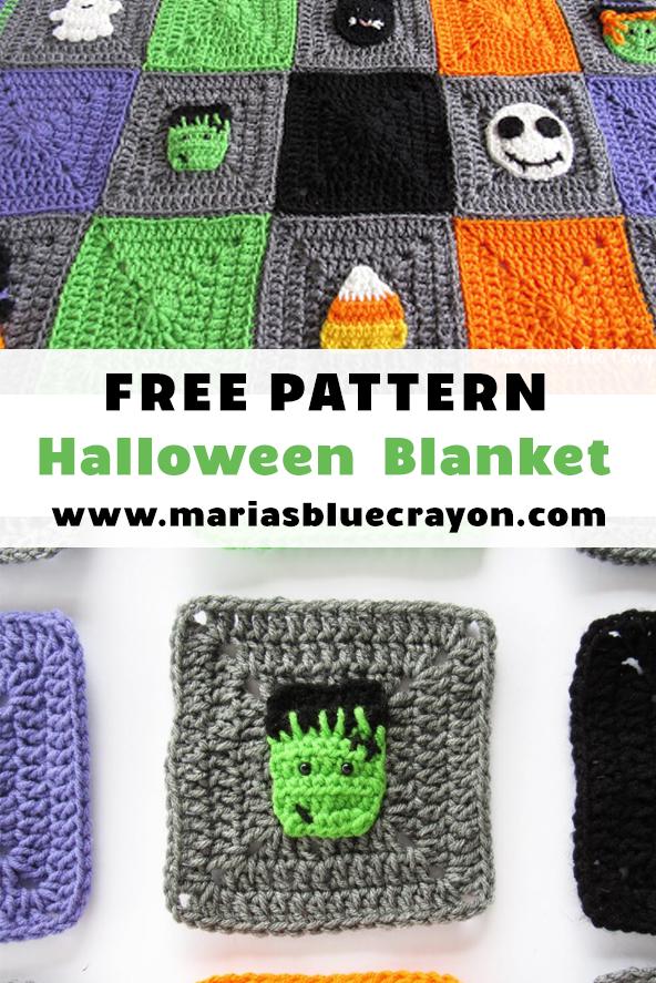 Large Handmade Crochet Happy Halloween Blanket