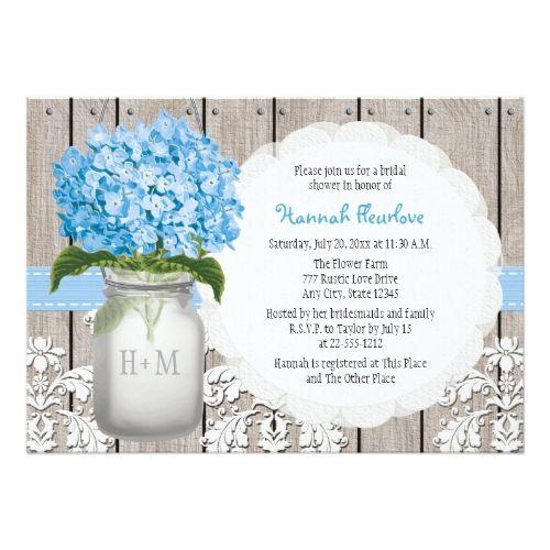 blue hydrangea monogrammed mason jar bridal shower card | jars, Baby shower invitations