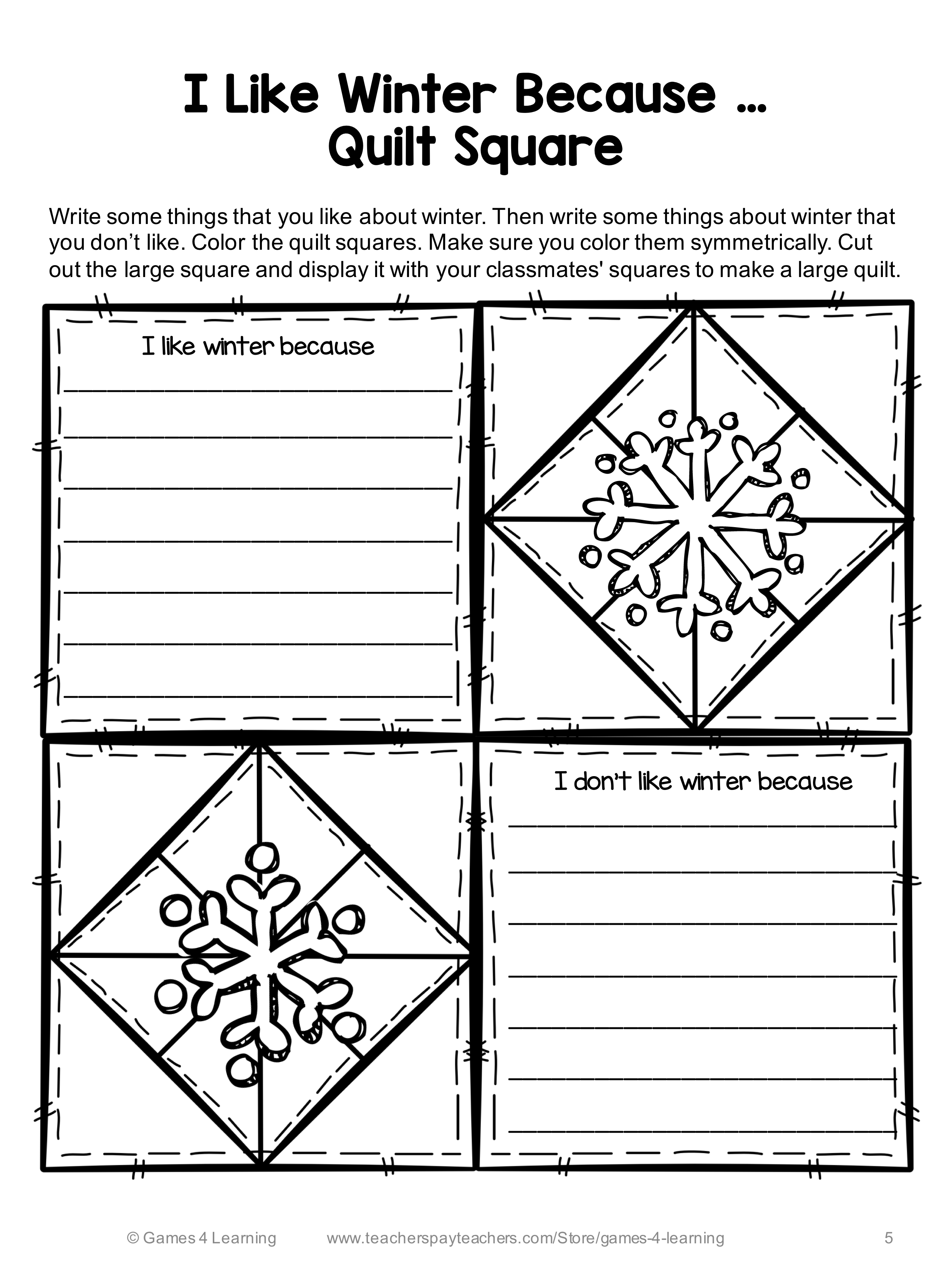 Winter Writing Prompts Quilt How To Build A Snowman If I