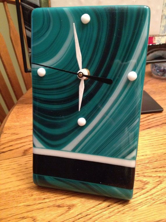 Fused Glass Free Standing Clock By Glassiquecreations On