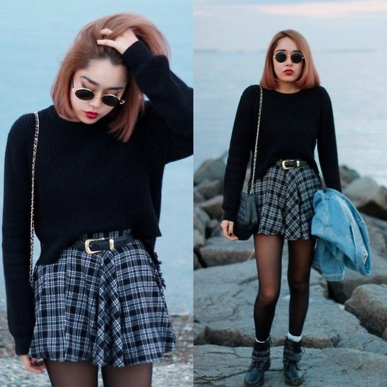 Plaid Skirt, Vintage Belt, Oversize Knit, Chanel Matelasse, Bershka Silver Chained Boots