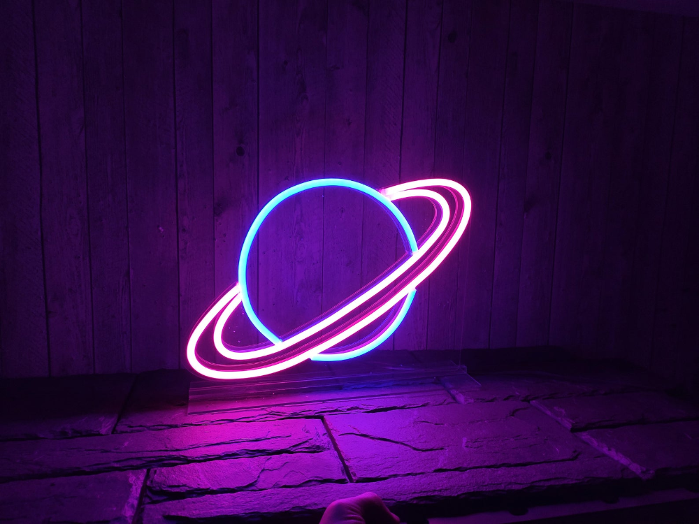 A Planet Unbreakable Neon Sign Transparent Background Wall Etsy Neon Signs Custom Neon Signs Neon Wall Art