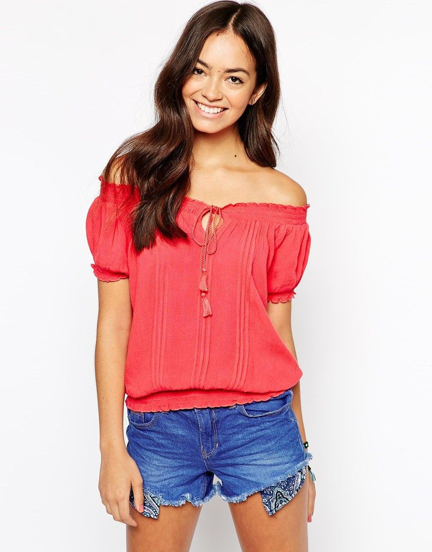 33dc8f0771280e New Look Off The Shoulder Gypsy Top - Love this color