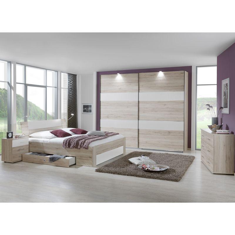 e-combuy Angebote Schlafzimmer Set »YONIE166« San Remo-Eiche, weiß - schlafzimmer braun weiß