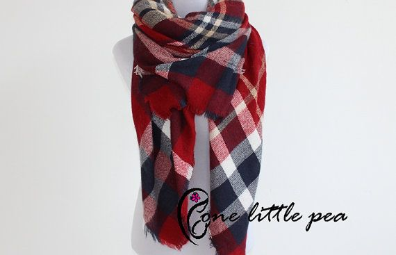 Blanket Scarf, plaid tartan scarf, Oversized, red, navy, Fall Plaid Scarf, gift for her, stocking stuffer, fall fashion, fall trend, sc01