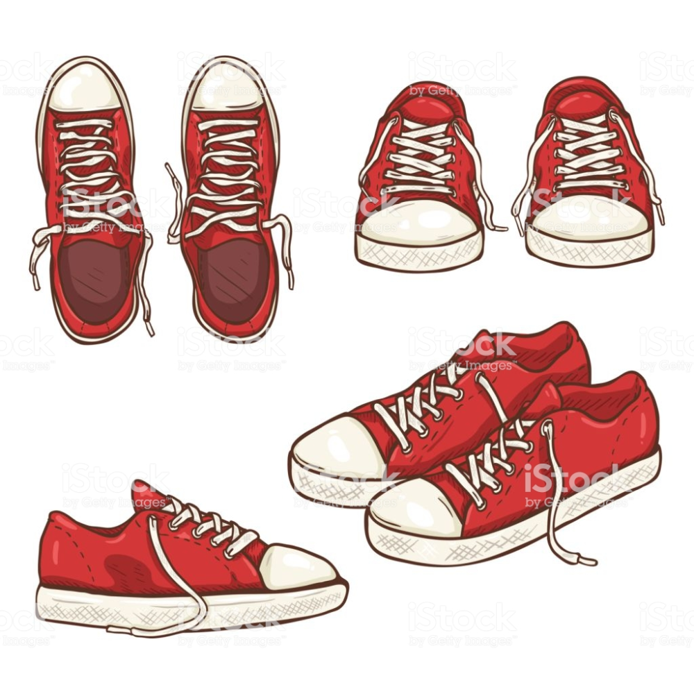 Vector Set Of Cartoon Red Gumshoes Side Top And Front Views Shoes Drawing Sneakers Drawing Shoes Illustration