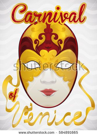 Poster with luxurious female volto mask covered in gold ornaments and ribbons to celebrate Venice Carnival over a wave pattern in the background.