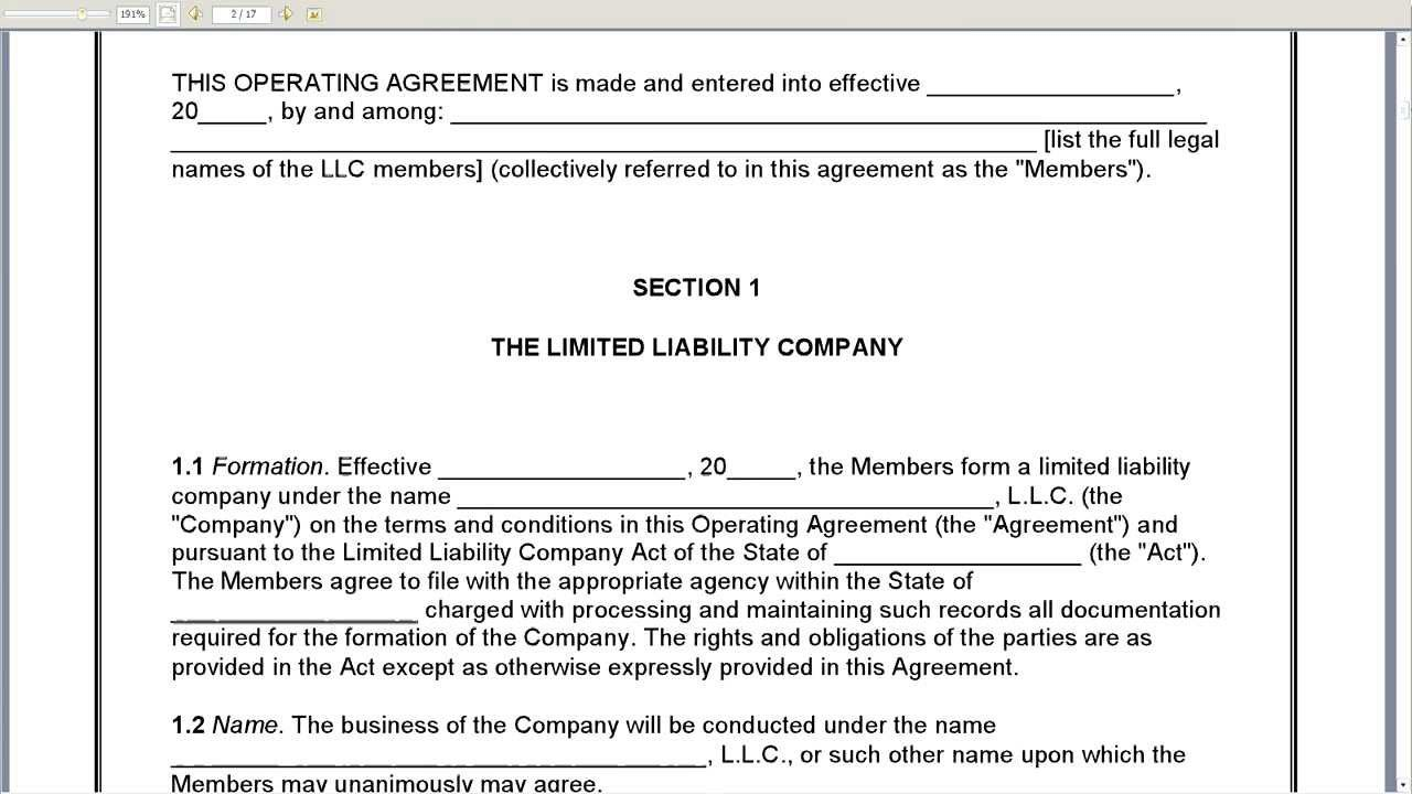 Operating Agreement The Picture Is A Sample Of Operating Agreement