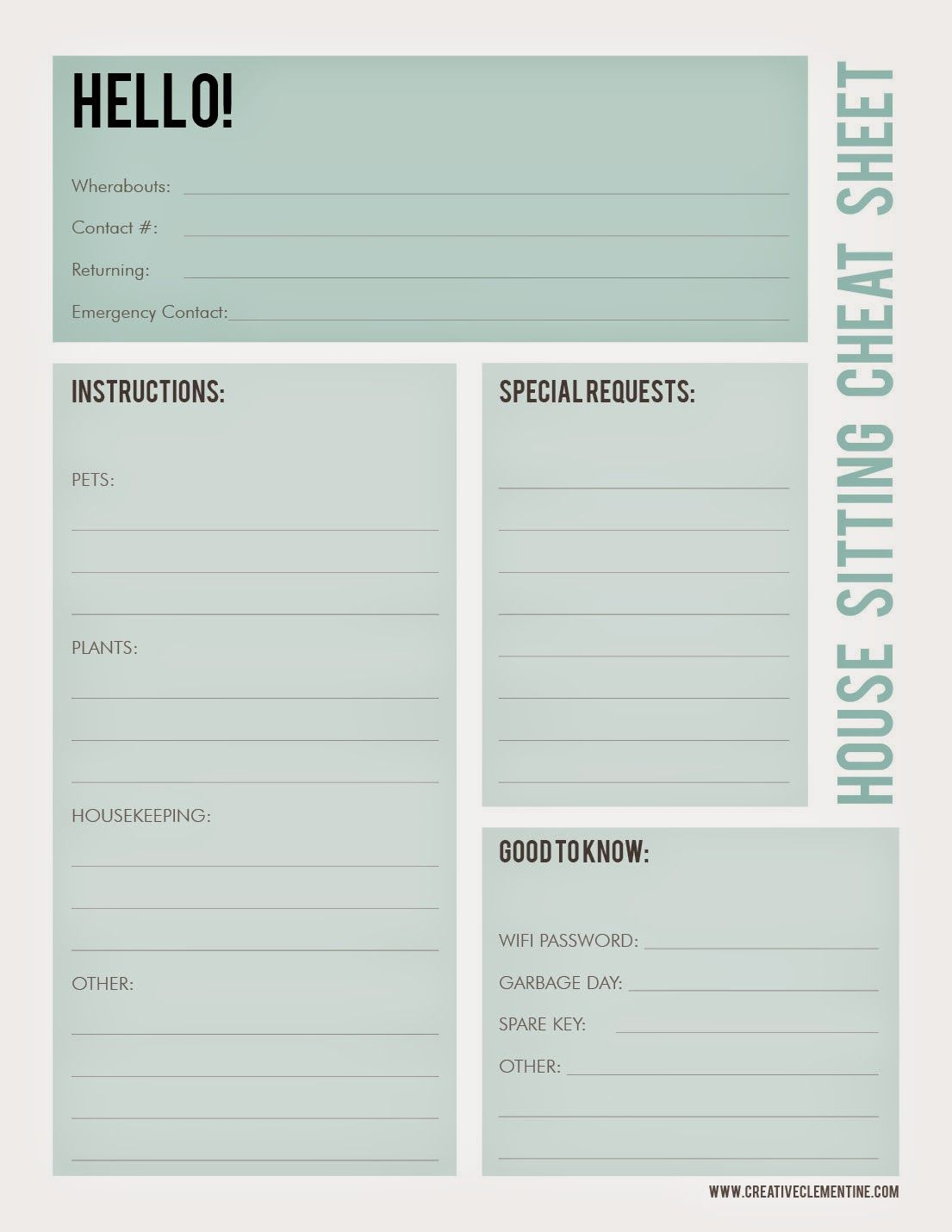 Creative Clementine Free Printable House Sitting Cheat Sheet Pet Sitting Forms House Sitting Pet Sitting Pet sitting client information form