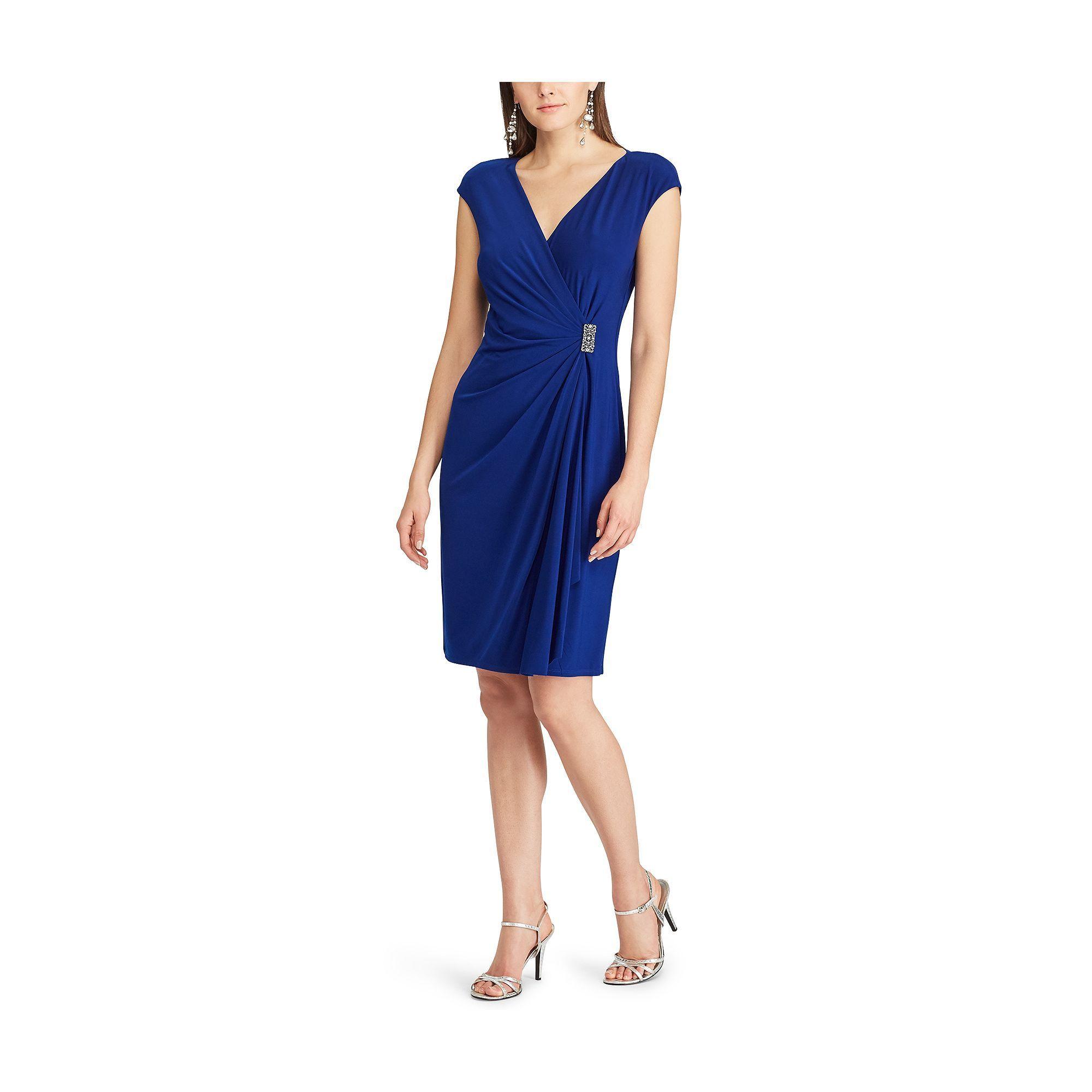 Womenus chaps embellished ruffle sheath dress size medium black