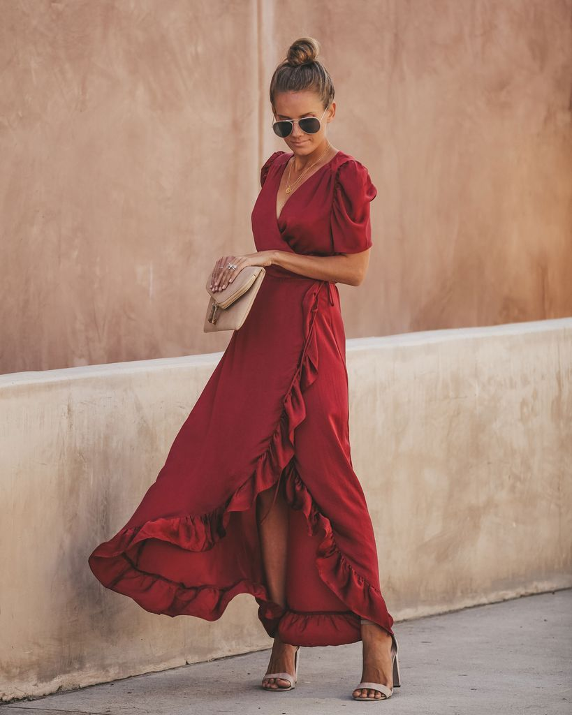 f175bf4a23bb5 Red Carpet Ruffle Wrap High Low Maxi Dress in 2019 | Engagement ...